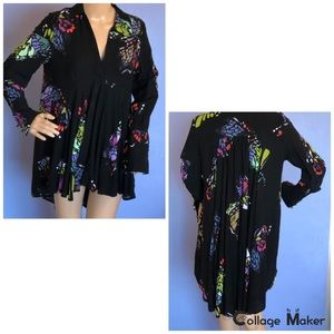 Free people black floral tunic size xs